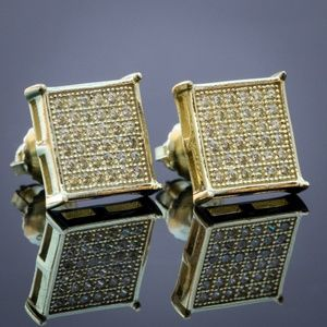 14k Gold Plated Micro Pave Canary Iced Earrings